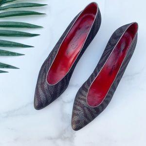 Oscar de la Renta Snakeskin Point Toe Mini Heels